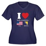 USA-BOSNIA Women's Plus Size V-Neck Dark T-Shirt