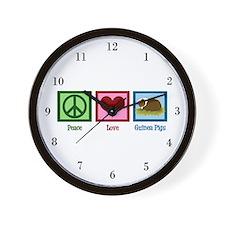Peace Love Guinea Pigs Wall Clock