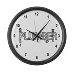 Plumber Pipes Large Wall Clock
