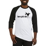 horse girls rule Baseball Jersey