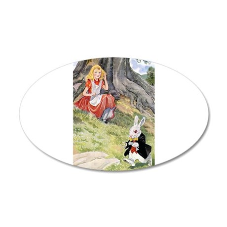 ALICE & THE WHITE RABBIT 38.5 x 24.5 Oval Wall Pee