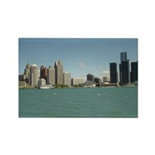 Detroit Skyline Rectangle Magnet (100 pack)
