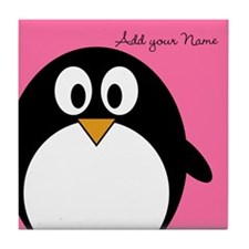 Add NAME - Penguin PINK Tile Coaster