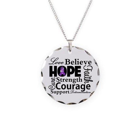 Pancreatic Cancer Hope Necklace Circle Charm