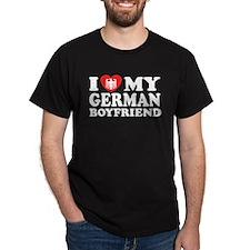 I Love My German Boyfriend Black T-Shirt