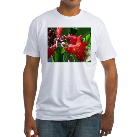 Red Canna Fitted T-Shirt