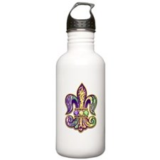 Mardi Gras Tiger Fleur de lis Water Bottle