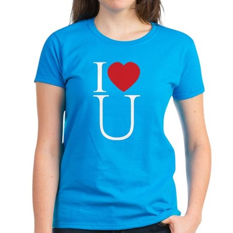 I Love You; I Heart U Women's Dark T-Shirt