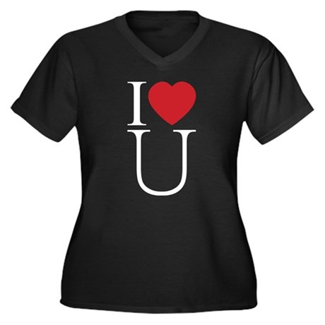 I Love You; I Heart U Women's Plus Size V-Neck Dark T-Shirt