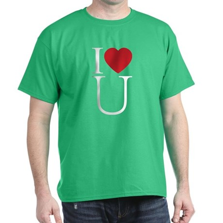 I Love You; I Heart U Men's Dark T-Shirt
