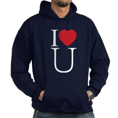 I Love You; I Heart U Men's Dark Hoodie