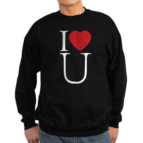 I Love You; I Heart U Men's Dark Sweatshirt