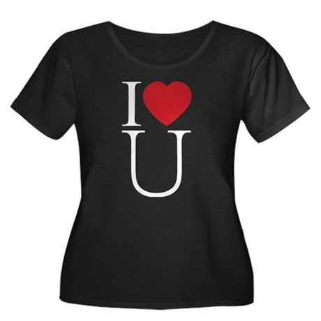 I Love You; I Heart U Women's Plus Size Scoop Neck Dark T-Shirt
