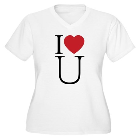 I Love You; I Heart U Women's Plus Size V-Neck T-Shirt