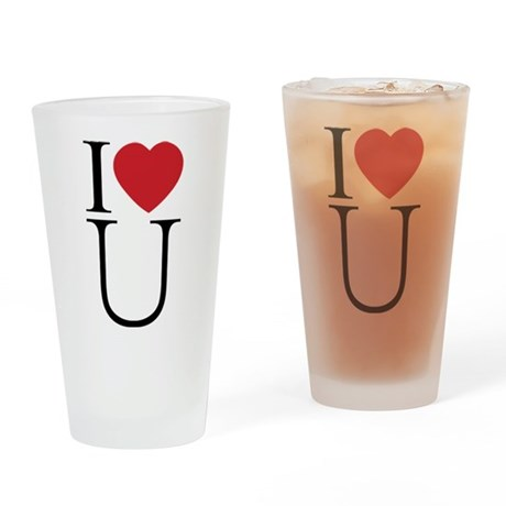 I Love You; I Heart U Drinking Glass