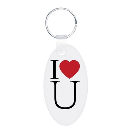 I Love You; I Heart U Aluminum Oval Keychain