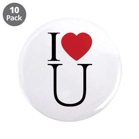 I Love You; I Heart U 3.5 Inch Buttons ~ Pack of 10