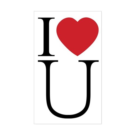 I Love You; I Heart U Rectangle Sticker