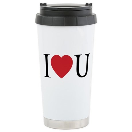 I Love You; I Heart U Ceramic Travel Mug