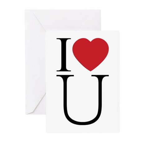 I Love You; I Heart U Greeting Cards ~ Package of 10