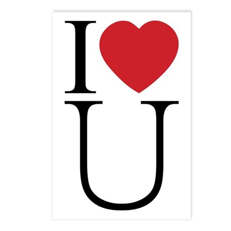 I Love You; I Heart U Postcards ~ Package of 8