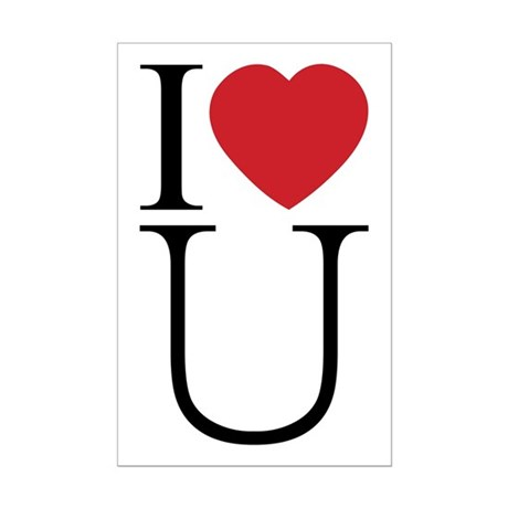 I Love You; I Heart U Mini Poster Print