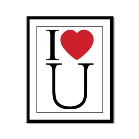 I Love You; I Heart U Framed Panel Print