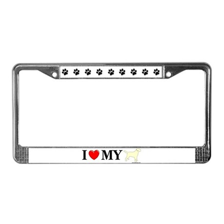 Love My Yellow Lab License Plate Frame