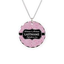 Pink Damask Wedding Favors Necklace