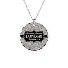 Wedding Favor - Taupe Damask Necklace