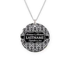 Wedding Favor - Black White Damask Necklace