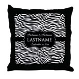Wedding Favor - Black White Damask Throw Pillow