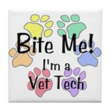 Tile Coaster - Bite Me Vet Tech Pawprints