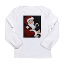 Mastiff Puppy with Santa Long Sleeve Infant T-Shir