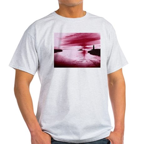 Lighthouse Sunset Ash Grey T-Shirt