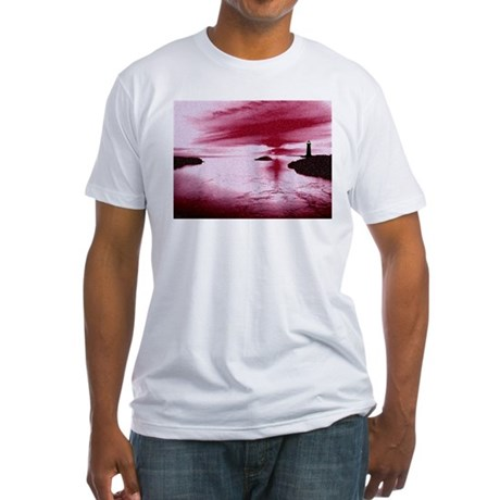 Lighthouse Sunset Fitted T-Shirt