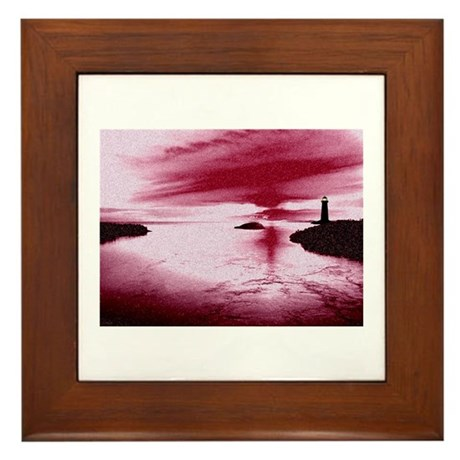 Lighthouse Sunset Framed Tile