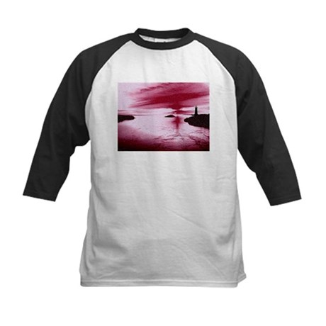 Lighthouse Sunset Kids Baseball Jersey