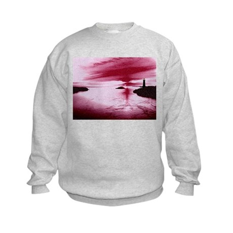 Lighthouse Sunset Kids Sweatshirt