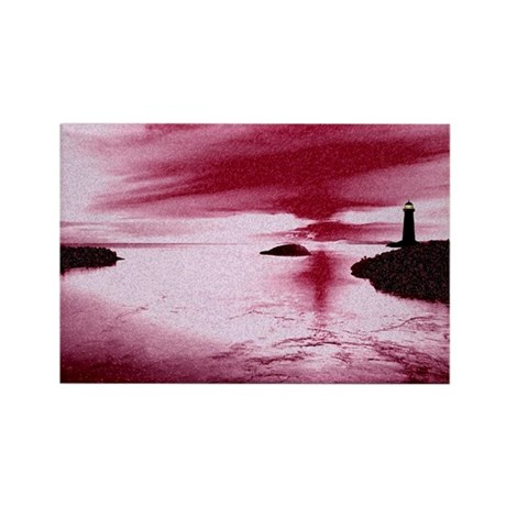 Lighthouse Sunset Rectangle Magnet