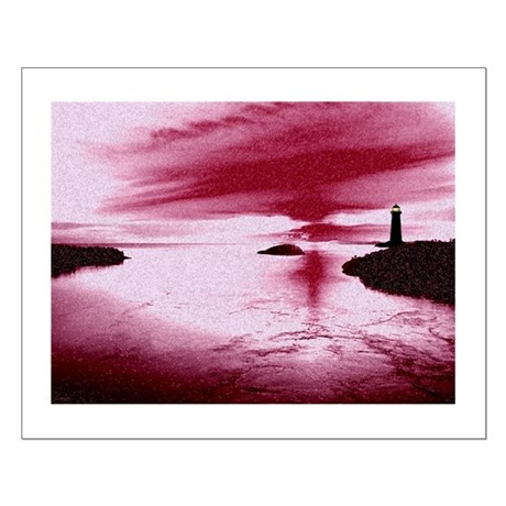 Lighthouse Sunset Small Poster