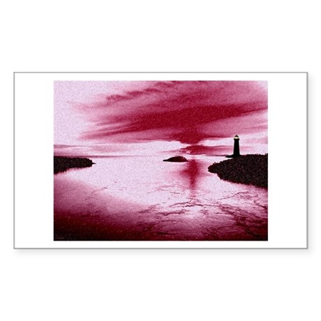 Lighthouse Sunset Rectangle Sticker