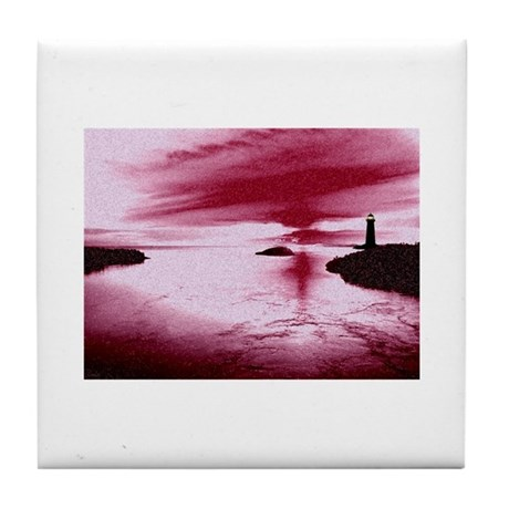 Lighthouse Sunset Tile Coaster