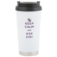Keep Calm and Ask Siri Ceramic Travel Mug