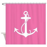 girly pink and white nautical shower curtain