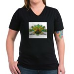 ROOTS ROCK REGGAE Women's V-Neck Dark T-Shirt