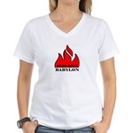 BURN BABYLON Women's V-Neck T-Shirt