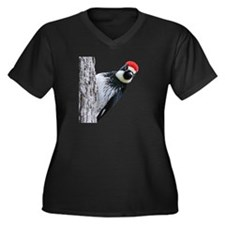 Acorn Woodpecker Women's Plus Size V-Neck Dark T-S