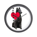 Belgian Sheepdog Heart Wall Clock