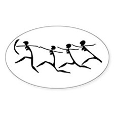 Running Women Oval Decal